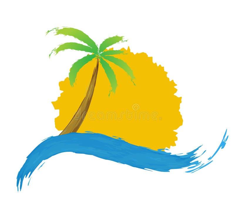 Palma tropicale sull'isola con il mare. royalty illustrazione gratis