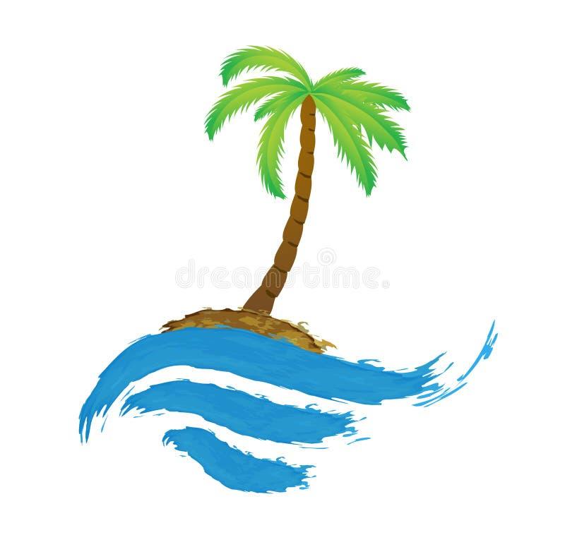 Palma tropicale sull'isola con il mare. illustrazione di stock
