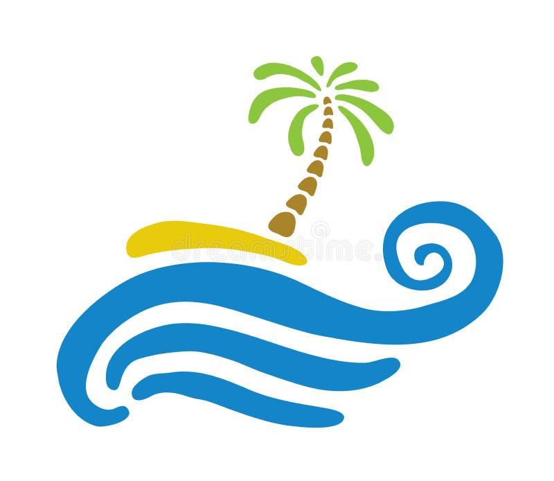 Palma tropicale sull'isola con il mare illustrazione di stock