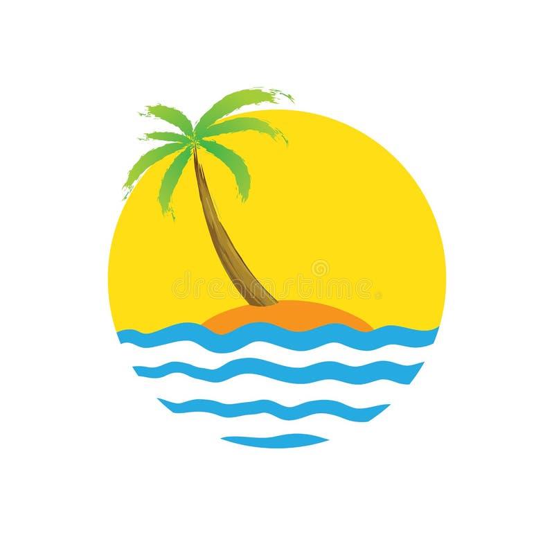 Palma tropicale sull'isola con il mare illustrazione vettoriale