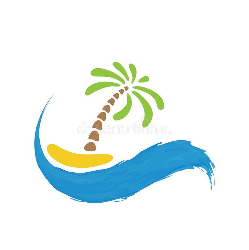 Palma tropicale sull'isola con il mare Paese del colpo di colore di busines del Internet di Web di corsa del pianeta della terra  illustrazione di stock