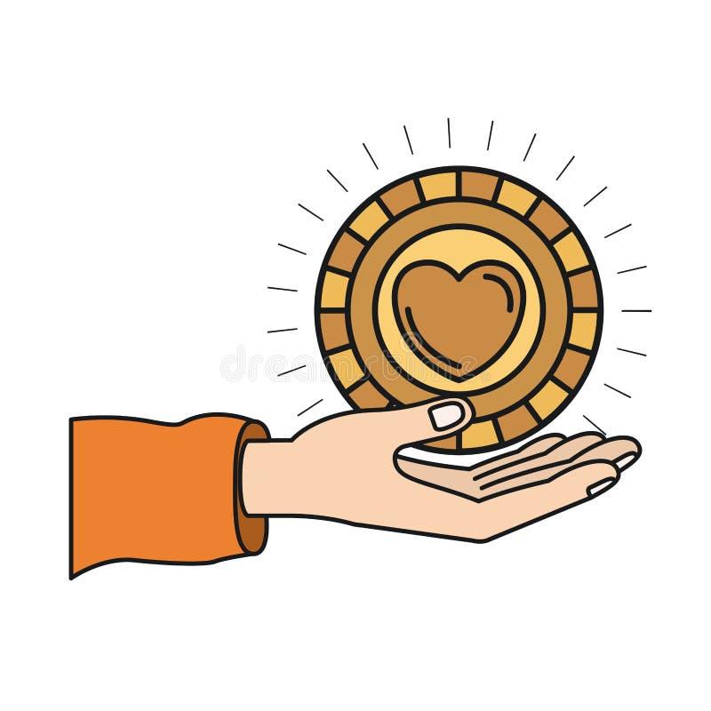 Palma variopinta della mano della siluetta che dà una moneta con forma del cuore dentro il simbolo di carità illustrazione di stock
