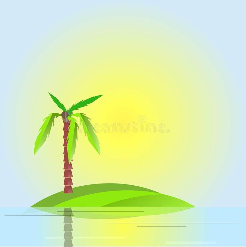 Palma verde con il tronco marrone e frutti sull'isola verde, cielo blu, acqua, sole giallo royalty illustrazione gratis