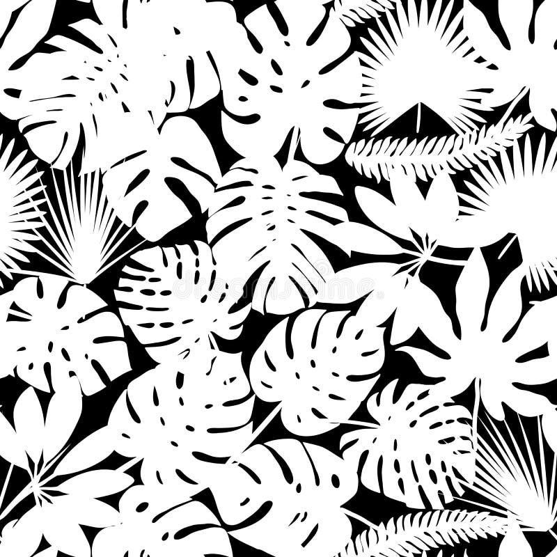 Palma y fondo de las siluetas de las hojas del monstera Modelo inconsútil del vector con las plantas tropicales Follaje de la sel stock de ilustración