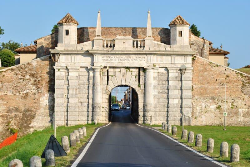 Palmanova, italy. Walled city, Italian monuments, traces of history royalty free stock image