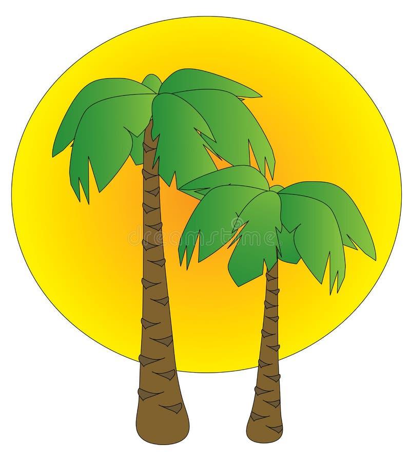 Palmas en la puesta del sol ilustración del vector