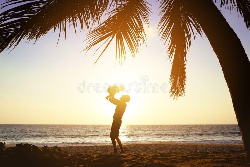 Palmas felizes do por do sol do divertimento da filha do pai foto de stock