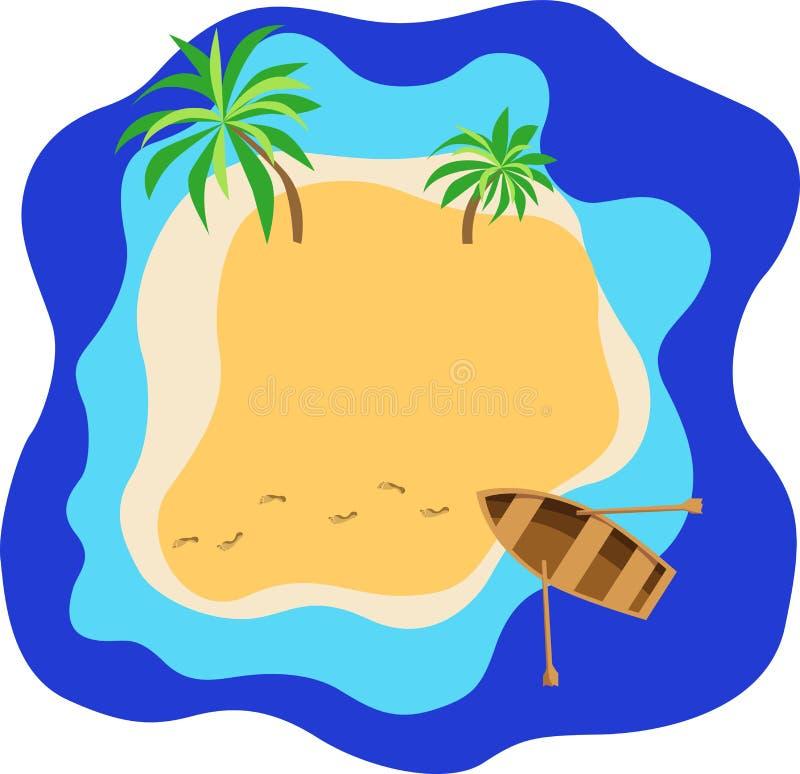 Palmas, mar, praia, areia em uma ilha tropical, barco e traços de um homem ilustração stock
