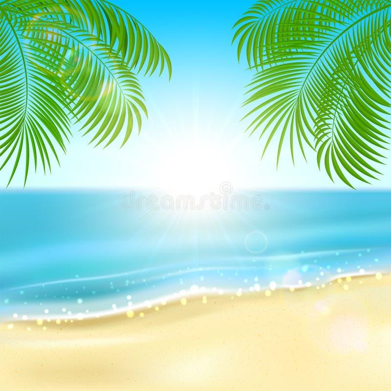 Palmas na praia ilustração stock