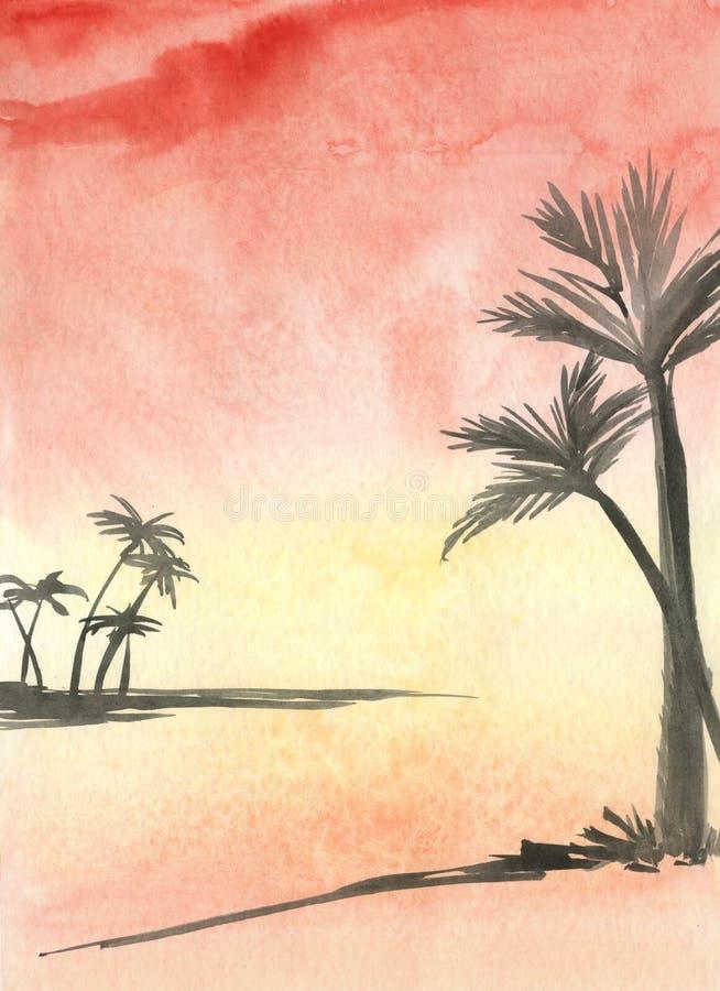 Palmas no por do sol sea- ilustração stock