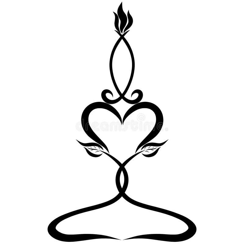 Palmatoria con un corazón y una vela en la forma de un pescado simbólico libre illustration