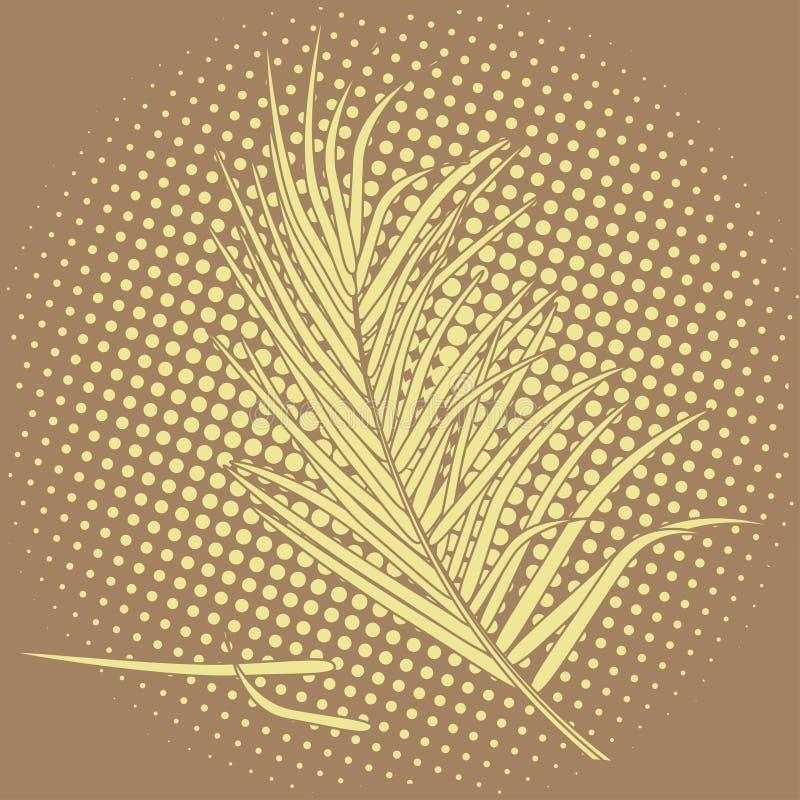 Palmblätter im blassen Pastellbraun Tropische Blumenillustration auf braunem punktiertem Hintergrund stock abbildung