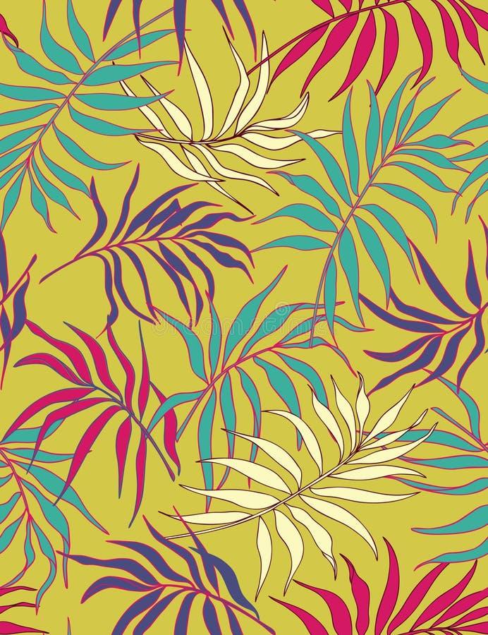 Palmblätter - nahtloses Muster stock abbildung