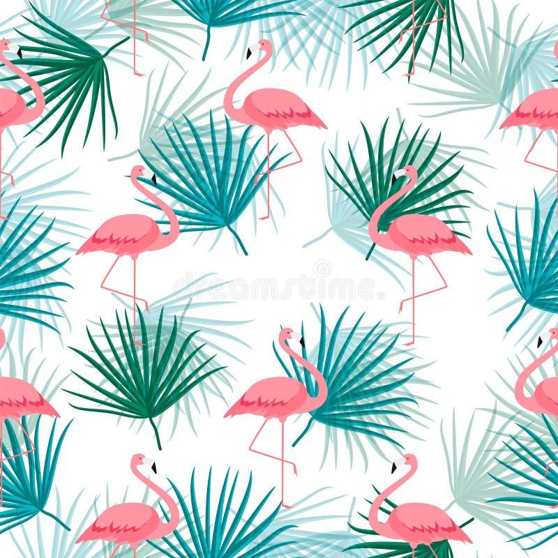 Palmblad en met Beeldverhaal Roze Flamingo Naadloze patroonachtergrond Illustratie stock afbeelding
