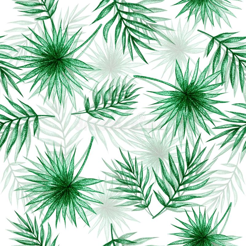 Palmblad räcker teckningen royaltyfri illustrationer