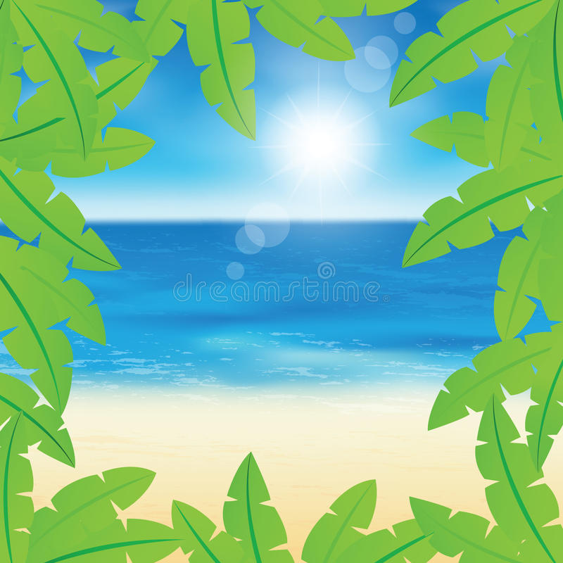 Palmbladen en strand royalty-vrije illustratie