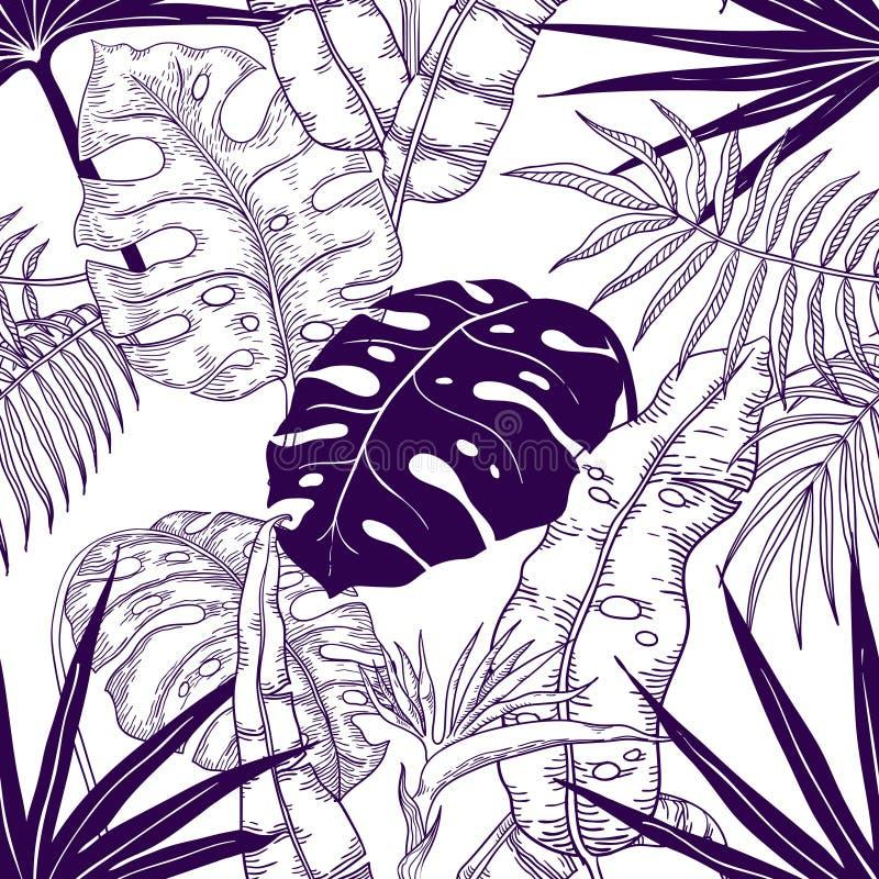 Palmbladen naadloos patroon Installatie uitstekend behang, de bloementextuur van de lijndruk, tropisch tuin textielpatroon Vector royalty-vrije illustratie