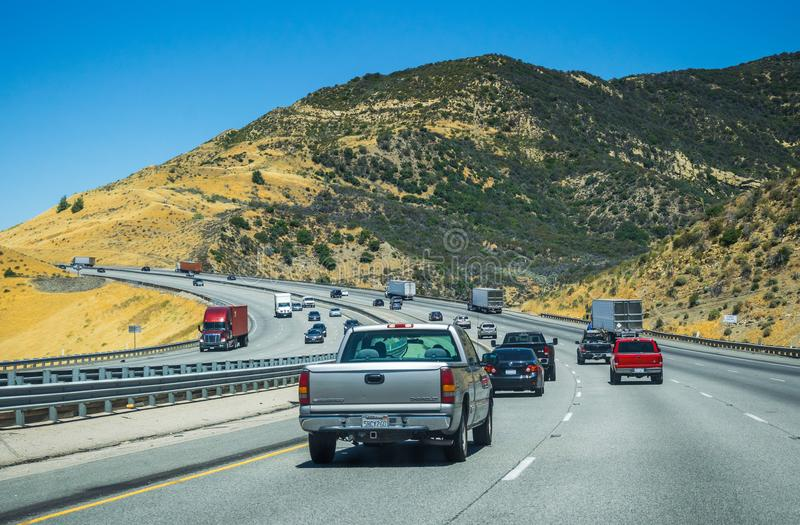 High-speed intercity highway in the vicinity of Los Angeles. Tourist summer trip to the USA stock images