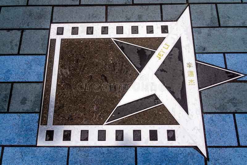 Palmdruk van Jet Li op de Weg van Sterren, Hollywood-Gang van Bekendheid stock foto's