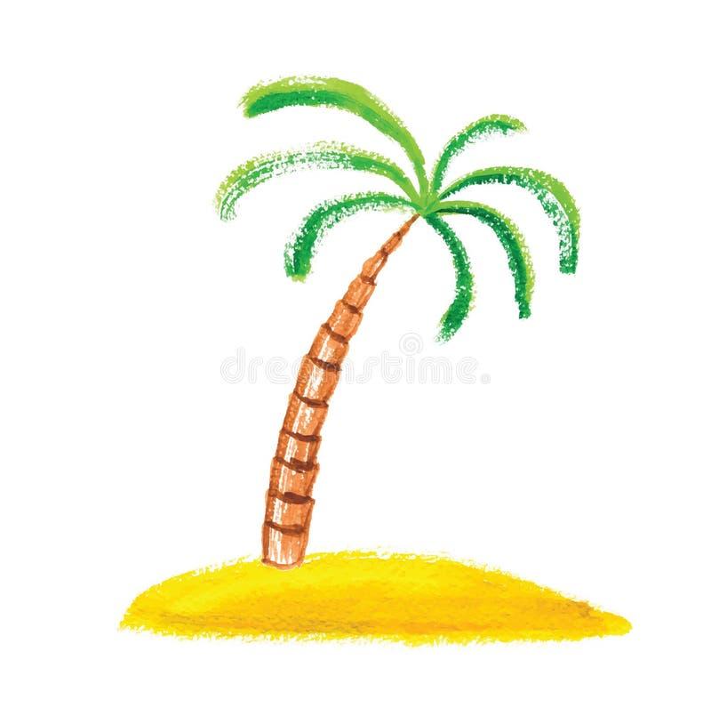 Palme auf der Insel, Vektorillustration stock abbildung