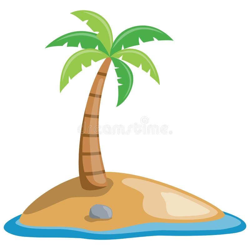 Palme auf einer kleinen Insel lizenzfreie abbildung