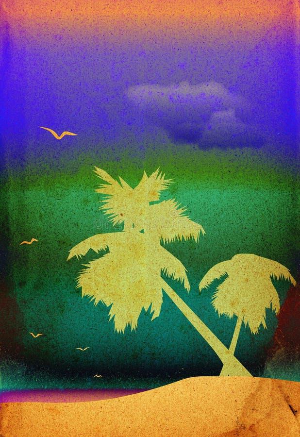 Palme-Bäume Landschaft lizenzfreie abbildung