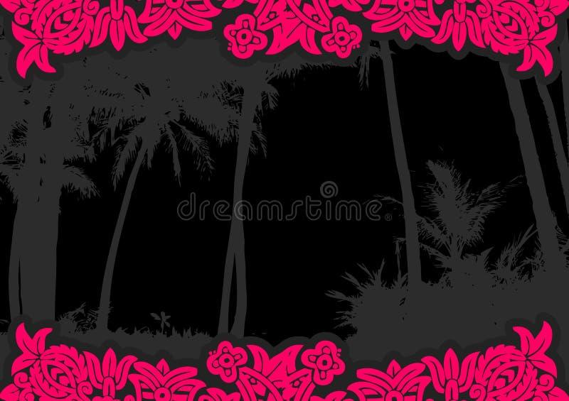 Palme con i fiori. Vettore illustrazione vettoriale
