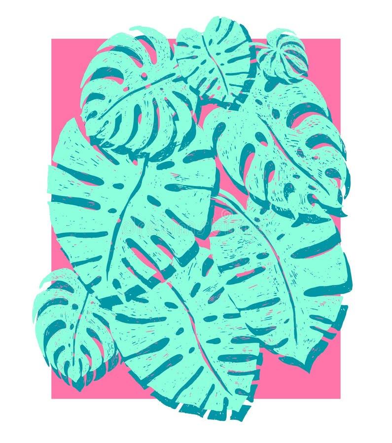 Palme d'avanguardia di monstera su un fondo rosa, illustrazione di vettore Elementi di progettazione di estate per la festa, viag illustrazione di stock