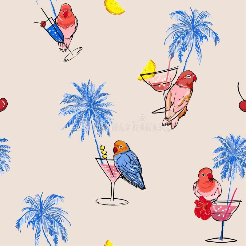 Palme di umore di vacanza di vettore senza cuciture del modello a disposizione, uccelli dei pappagalli, cocktail e frutti tirati  illustrazione vettoriale