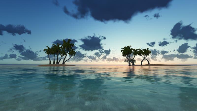 Palme e cielo nuvoloso stupefacente sul tramonto all'isola tropicale nella rappresentazione dell'Oceano Indiano 3D illustrazione vettoriale