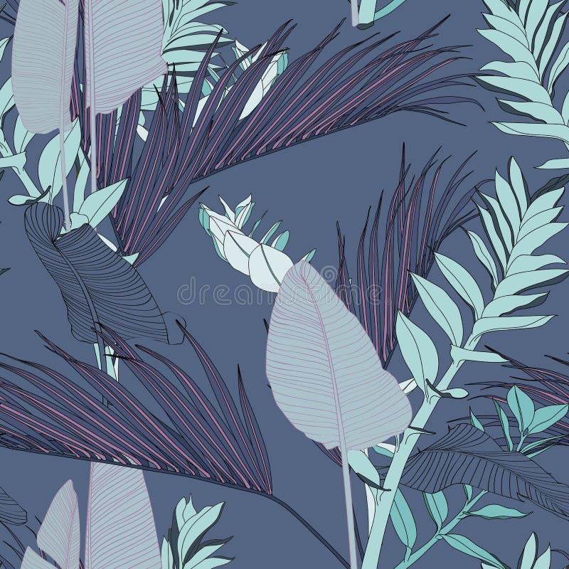 Palme e foglie tropicali esotiche delle banane, fondo blu d'annata illustrazione vettoriale