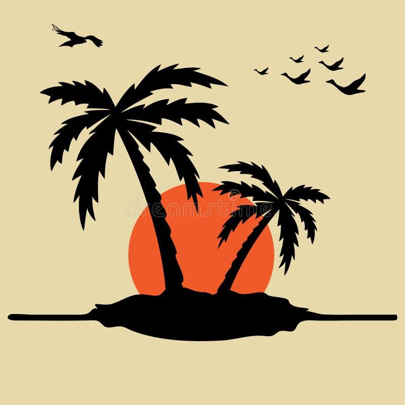 Palme ed alba royalty illustrazione gratis