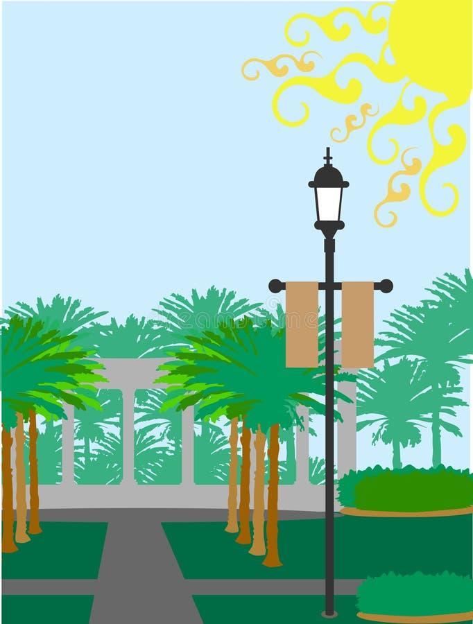 Palme-Hoflampenpfosten sonnig vektor abbildung