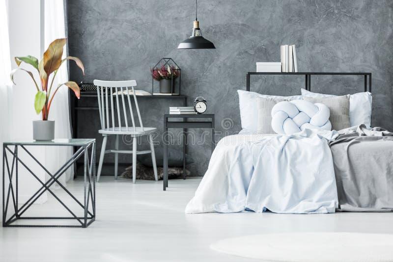 Palme im grauen Schlafzimmerinnenraum stockfotos