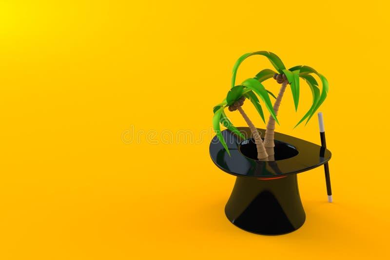 Palme innerhalb des magischen Hutes stock abbildung