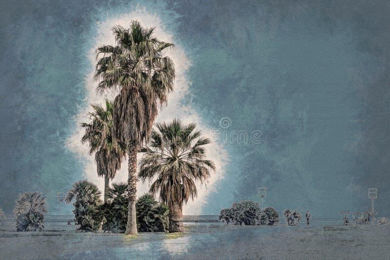 Palme lungo la costa a Palermo al bello giorno soleggiato illustrazione vettoriale