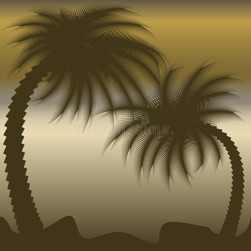 Palme proiettate su cielo blu immagine stock libera da diritti