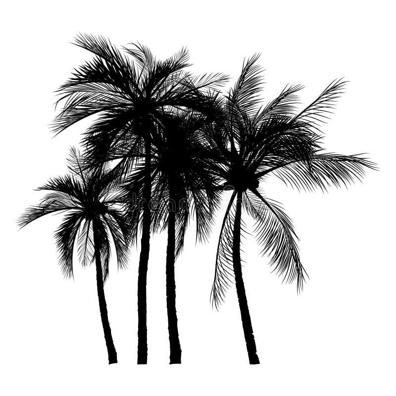 Palme-Schattenbildikonen auf weißem Hintergrund stock abbildung
