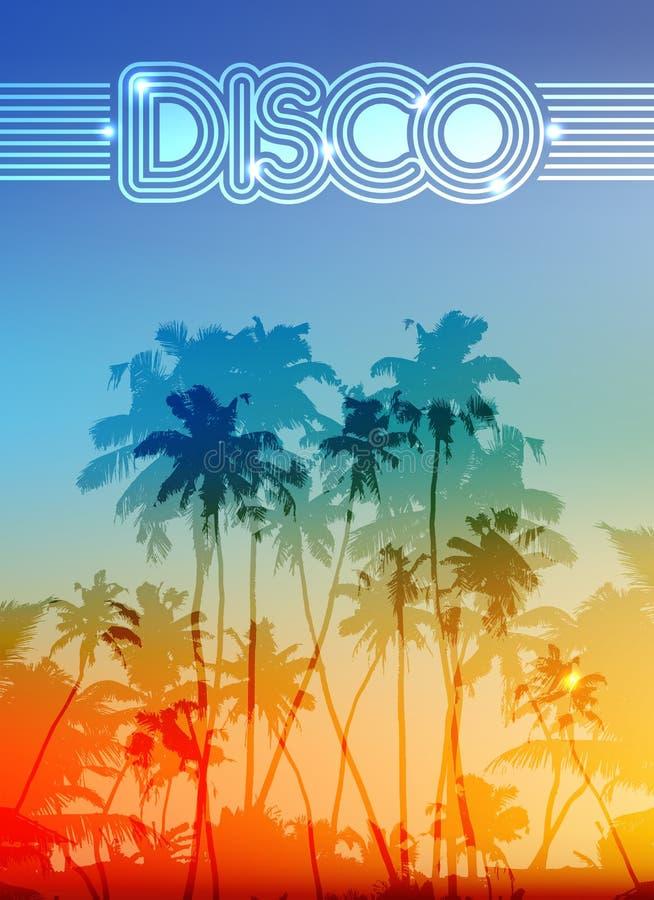 Palme silhouettiert Sommerdiscohintergrund lizenzfreie abbildung