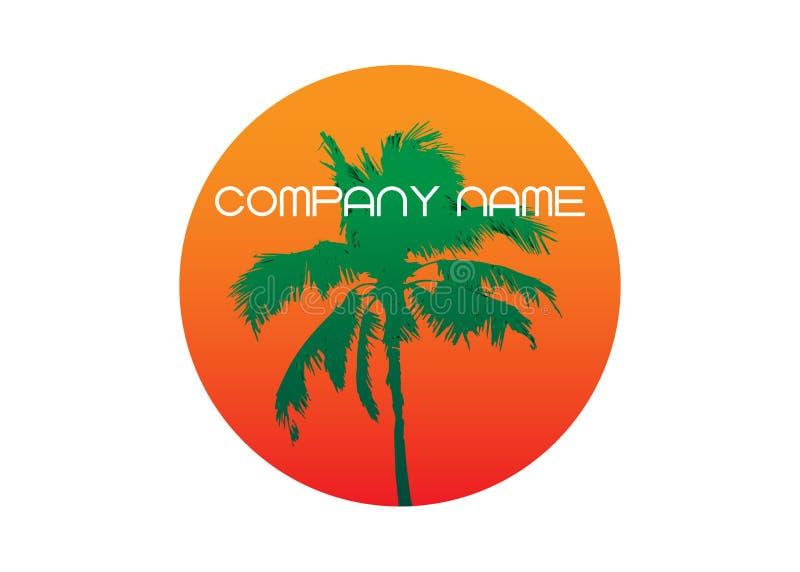 Palme-Sommerlogoschablone Tropische Palme, grünes Schattenbild und Entwurfskonturen, Firmennamen, Vektor lokalisiert vektor abbildung