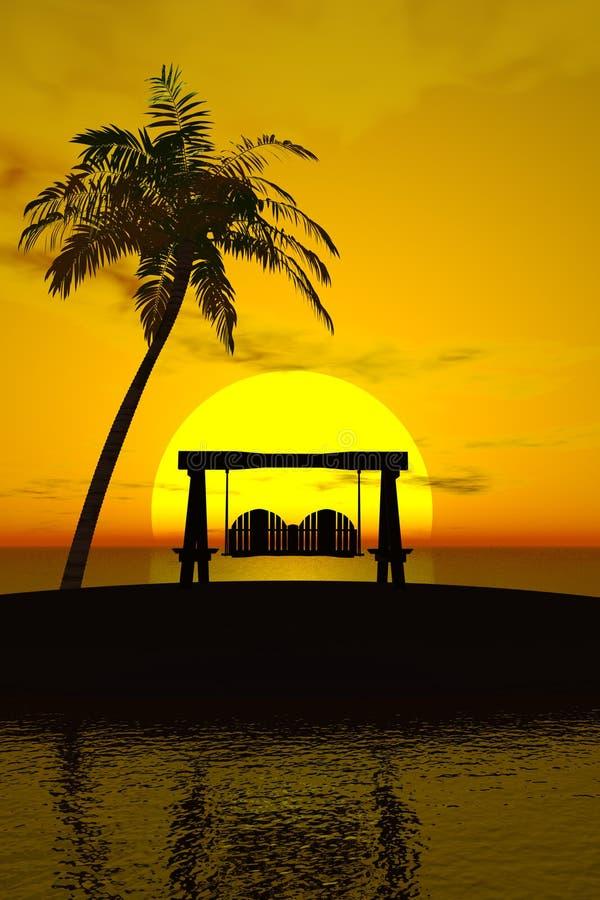 Palme, Sonnenuntergang und Schwingen stock abbildung