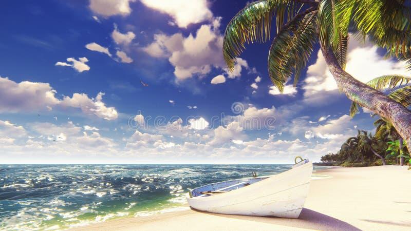 Palme su un'isola tropicale con l'oceano blu, la vecchia barca e la spiaggia bianca un giorno soleggiato Bella scena di estate 3d fotografie stock