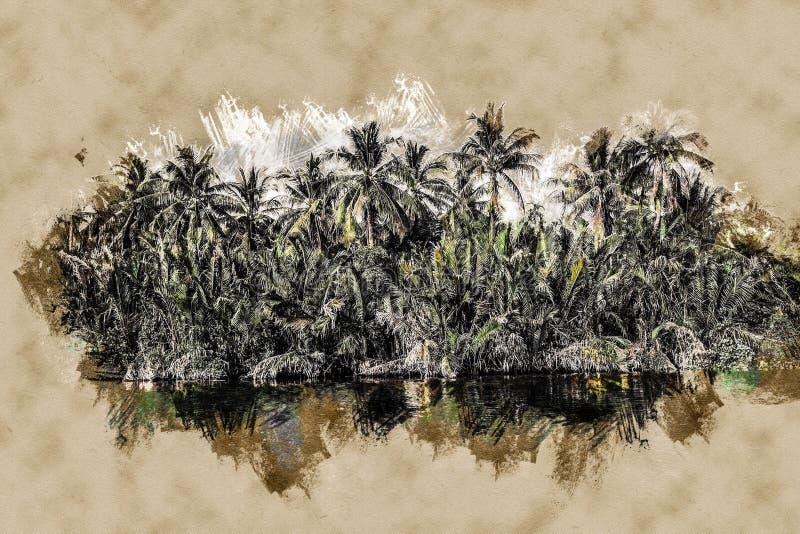 Palme sulla riva di mare al bello giorno soleggiato illustrazione di stock