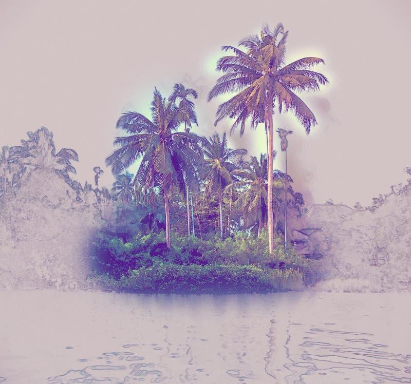 Palme sulla riva di mare al bello giorno soleggiato illustrazione vettoriale