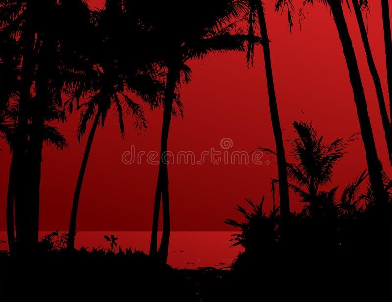 Palme sulla spiaggia illustrazione vettoriale