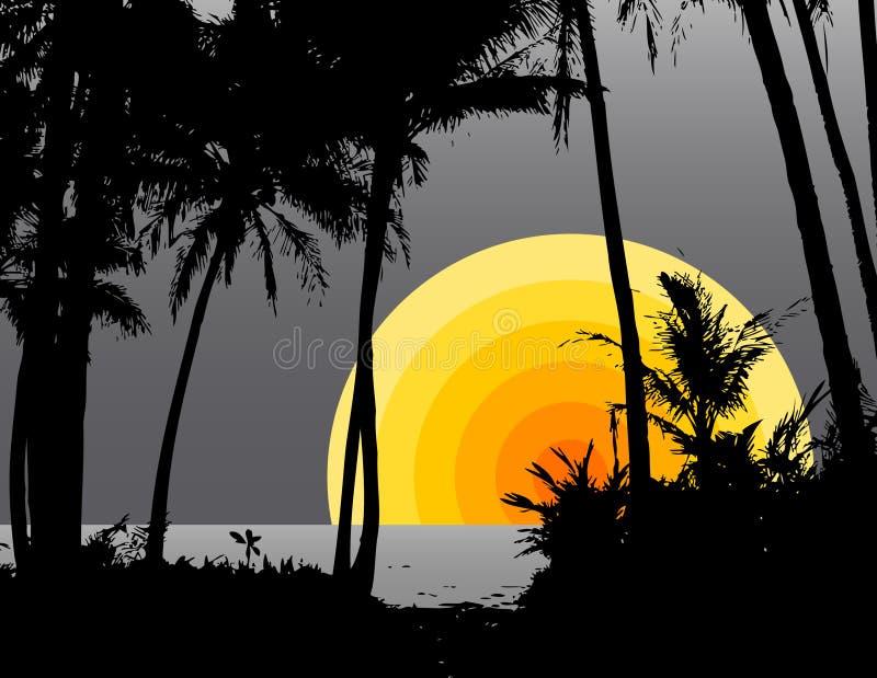 Palme sulla spiaggia illustrazione di stock