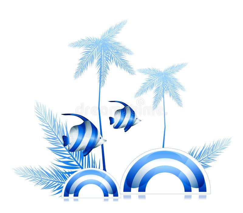 Palme und Fische lizenzfreie abbildung