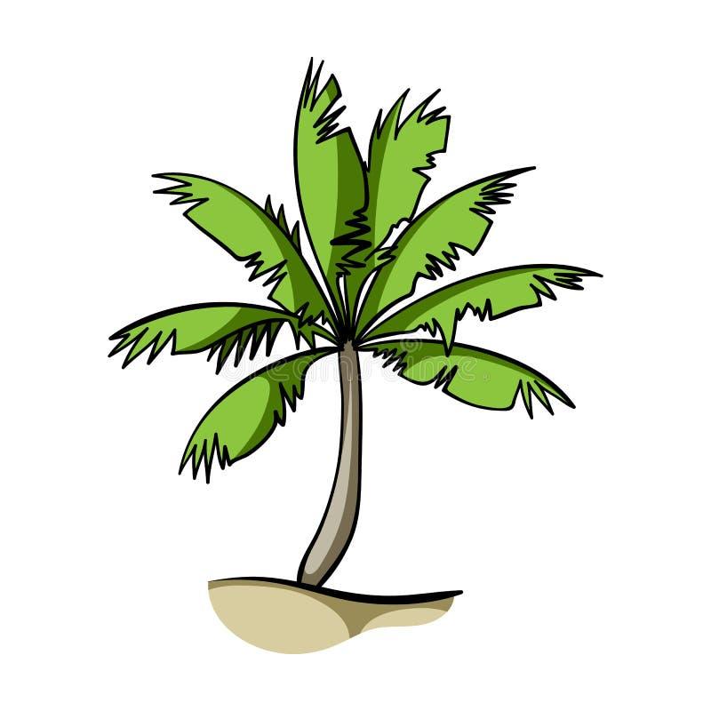 Palmeikone in der Karikaturart lokalisiert auf weißem Hintergrund Surfende Vektorillustration des Symbols auf Lager lizenzfreie abbildung