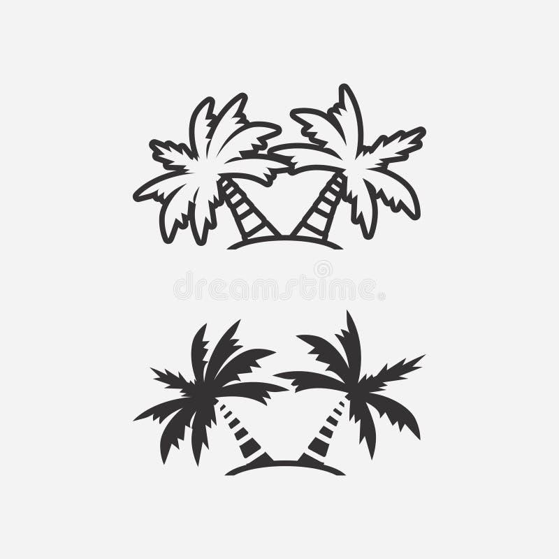 Palmeikonen Auch im corel abgehobenen Betrag vektor abbildung