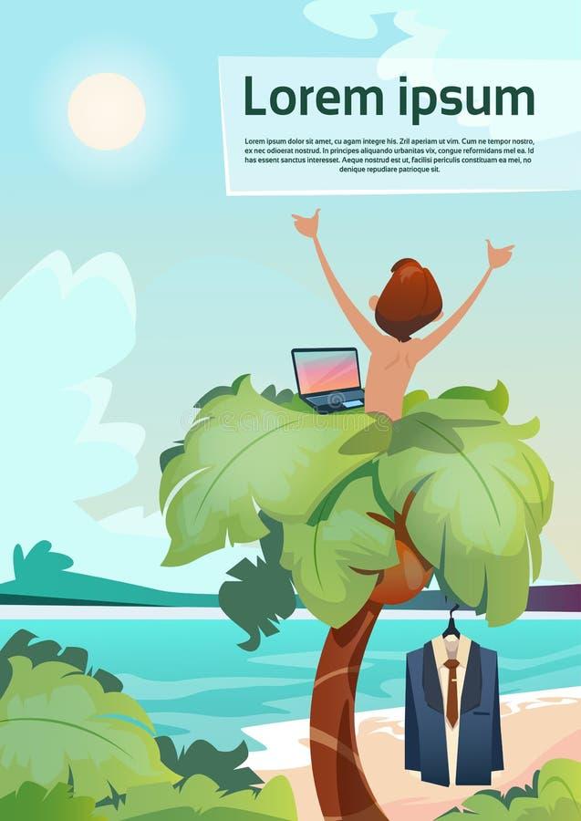Palmeira autônomo do lugar de funcionamento remoto do homem usando a opinião tropical de férias de verão da praia do portátil ilustração stock